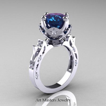 Modern-Antique-White-Gold-Alexandrite-Diamond-Solitaire-Wedding-Ring-R214-WGDAL-P2
