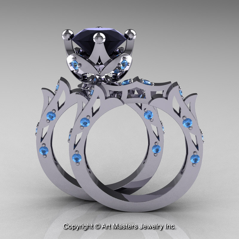 Modern antique 14k white gold 30 carat black diamond blue for Blue topaz wedding ring sets