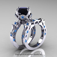 Modern Antique 14K White Gold 3.0 Carat Black Diamond Blue Topaz Solitaire Wedding Ring Set R214S-14KWGBTBD - Perspective