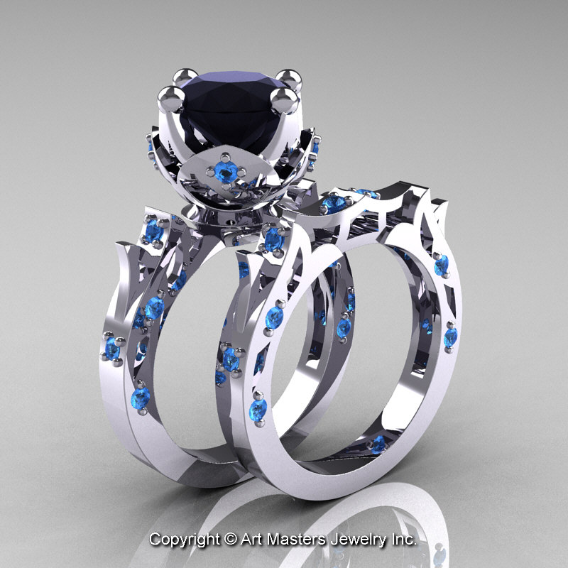 Modern Antique White Gold Black Diamond Blue Topaz
