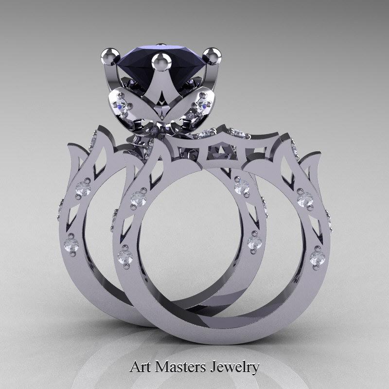 Modern Antique White Gold Black Diamond Solitaire Wedding