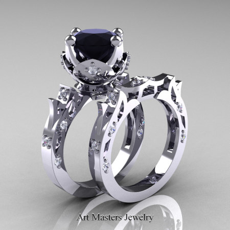 Modern-Antique-White-Gold-Black-Diamond-Solitaire-Wedding-Ring-Bridal-Set-R214S-WGDBD-P