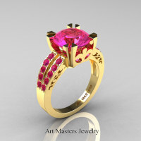 Modern Vintage 14K Yellow Gold 3.0 Carat Pink Sapphire Solitaire Ring R102-14KYGPS - Perspective