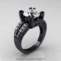 Modern Vintage 14K Black Gold 3.0 Carat White Sapphire Diamond Solitaire Ring R102-14KBGDWS - Perspective