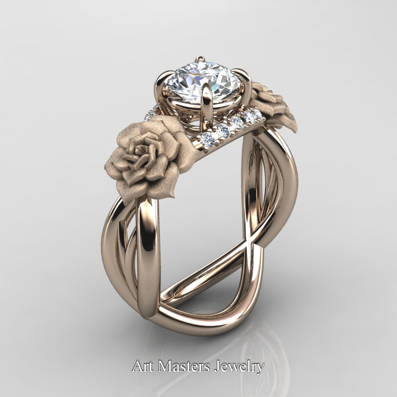 Nature Inspired 14K Rose Gold 1 Ct White