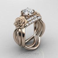 Nature Inspired 14K Rose Gold 1.0 Ct White Sapphire Diamond Rose Vine Engagement Ring Wedding Band Set R294S-14KRGDWS - Perspective