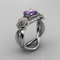 Nature Inspired 14K White Gold 1.0 Ct Amethyst Diamond Rose Vine Engagement Ring R294-14KWGDAM - Perspective