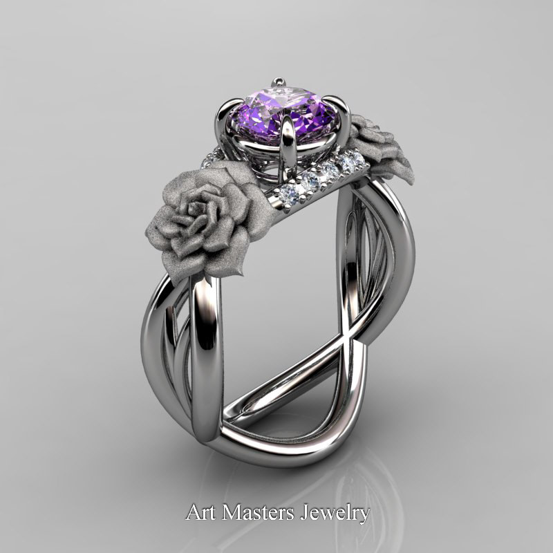 Nature Inspired 14K White Gold 1.0 Ct Amethyst Diamond ...