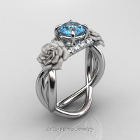 Nature Inspired 14K White Gold 1.0 Ct Blue Topaz Diamond Rose Vine Engagement Ring R294-14KWGDBT