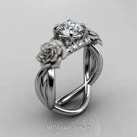 Nature Inspired 14K White Gold 1.0 Ct White Sapphire Diamond Rose Vine Engagement Ring R294-14KWGDWS - Perspective