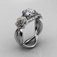 Nature Inspired 14K White Gold 1.0 Ct White Sapphire Diamond Rose Vine Engagement Ring R294-14KWGDWS - Perspective
