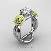 Nature Inspired 14K White Gold 1.0 Ct White Sapphire Diamond Rose Vine Engagement Ring R294-14KWGGDWS - Perspective