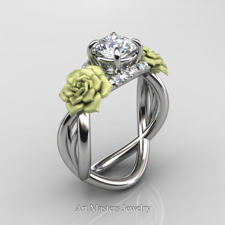 Nature-Inspired-14K-White-Gold-1-Ct-White-Sapphire-Diamond-Rose-Vine-Engagement-Ring-R294-14KWGGDWS-P