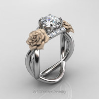 Nature Inspired 14K White Gold 1.0 Ct White Sapphire Diamond Rose Vine Engagement Ring R294-14KWRGDWS - Perspective