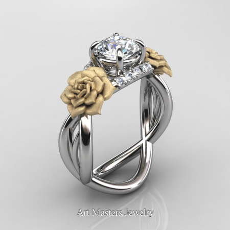 Nature-Inspired-14K-White-Gold-1-Ct-White-Sapphire-Diamond-Rose-Vine-Engagement-Ring-R294-14KWYGDWS-P
