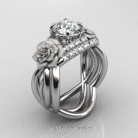 Nature Inspired 14K White Gold 1.0 Ct White Sapphire Diamond Rose Vine Engagement Ring Wedding Band Set R294S-14KWGDWS - Perspective