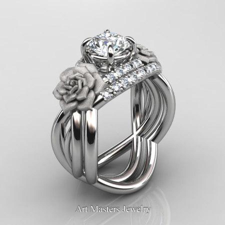 Nature-Inspired-14K-White-Gold-1-Ct-White-Sapphire-Diamond-Rose-Vine-Engagement-Ring-Wedding-Band-Set-R294S-14KWGDWS-P