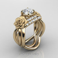 Nature Inspired 14K Yellow Gold 1.0 Ct White Sapphire Diamond Rose Vine Engagement Ring Wedding Band Set R294S-14KYGDWS - Perspective