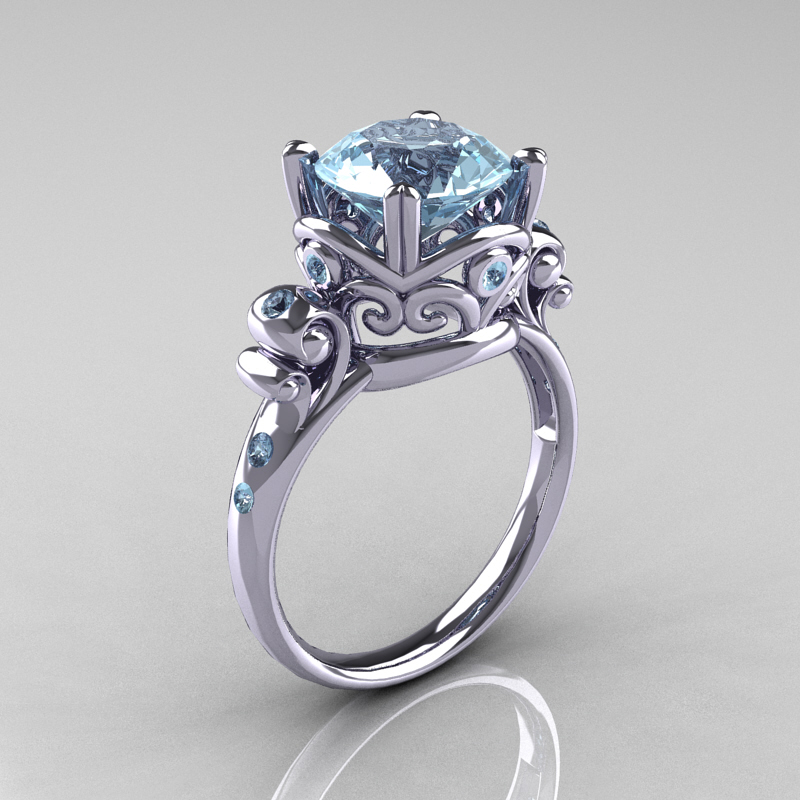 modern vintage 14k white gold 25 carat aquamarine wedding engagement ring r167 14kwgaq caravaggio jewelry - Aquamarine Wedding Ring