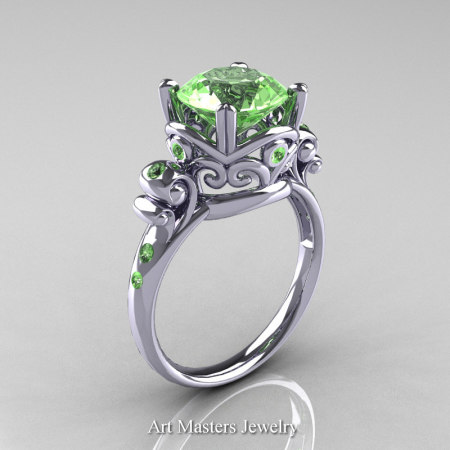 Art-Masters-Vintage-14K-White-Gold-3-Ct-Green-Topaz-Solitaire-Ring-Wedding-Ring-R167-14KWGGT-P