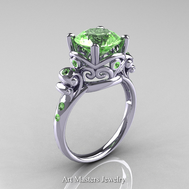modern vintage 14k white gold 25 carat green topaz wedding engagement ring r167 14kwggt caravaggio jewelry - Green Wedding Rings
