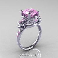Modern Vintage 14K White Gold 2.5 Carat Light Pink Sapphire Wedding Engagement Ring R167-14KWGLPS - Perspective
