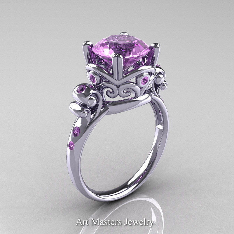 modern vintage 14k white gold 25 carat lilac amethyst wedding engagement ring r167 14kwglam caravaggio jewelry - Amethyst Wedding Rings
