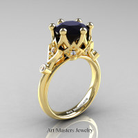 Modern Antique 14K Yellow Gold 3.0 Carat Black and White Diamond Solitaire Wedding Ring R514-14KYGDBD - Pinterest