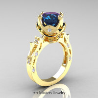 Modern Antique 14K Yellow Gold 3.0 Carat Alexandrite Diamond Solitaire Wedding Ring R214-14KYGDAL - Perspective