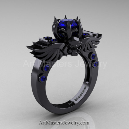 Art-Masters-Winged-Skull-14K-Black-Gold-1-Carat-Blue-Sapphire-Engagement-Ring-R613-14KBGBS-P