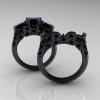 Classic-14K-Black-Gold-Three-Stone-Princess-Black-Diamond-Solitaire-Ring-Wedding-Band-Set-R500S2-14KBGBD-F