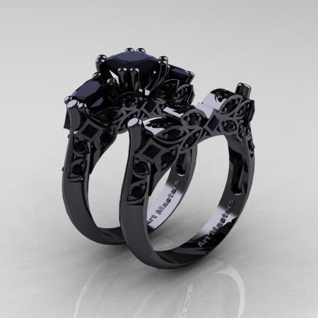 Classic-14K-Black-Gold-Three-Stone-Princess-Black-Diamond-Solitaire-Ring-Wedding-Band-Set-R500S2-14KBGBD-P