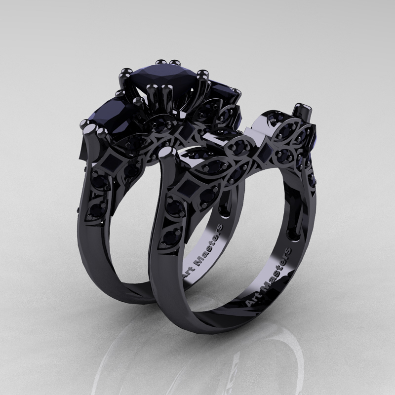 classic 14k black gold three stone princess black - Black Gold Wedding Ring Sets