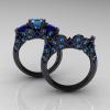 Classic-14K-Black-Gold-Three-Stone-Princess-Blue-Topaz-Blue-Sapphire-Solitaire-Ring-Wedding-Band-Set-R500S2-14KBGBTBS-F