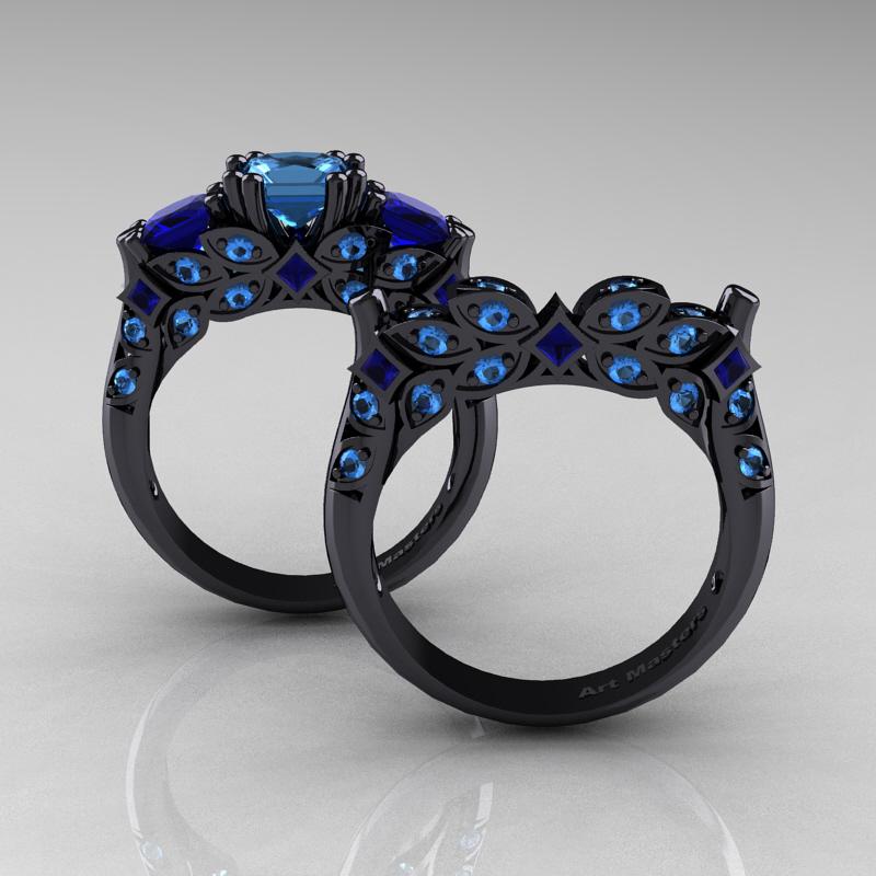 Designer Classic 14k Black Gold Three Stone Princess Blue Topaz Blue