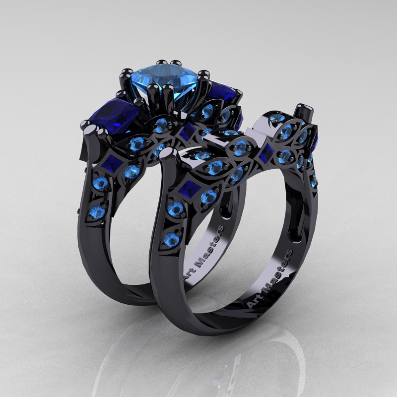 classic 14k black gold three stone princess blue - Blue Sapphire Wedding Rings