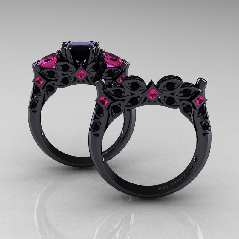 designer classic 14k black gold three stone princess diamond pink and black wedding rings - Pink And Black Wedding Rings