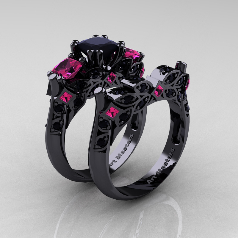 classic 14k black gold three stone princess pink - Black And Pink Wedding Ring Sets