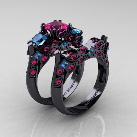 Classic-14K-Black-Gold-Three-Stone-Princess-Pink-Sapphire-Blue-Topaz-Diamond-Ring-Wedding-Band-Set-R500S-BGBTPS-P