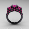 Classic-14K-Black-Gold-Three-Stone-Princess-Pink-Sapphire-Solitaire-Ring-R500-14KBGPS-F
