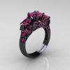 Classic-14K-Black-Gold-Three-Stone-Princess-Pink-Sapphire-Solitaire-Ring-R500-14KBGPS-P