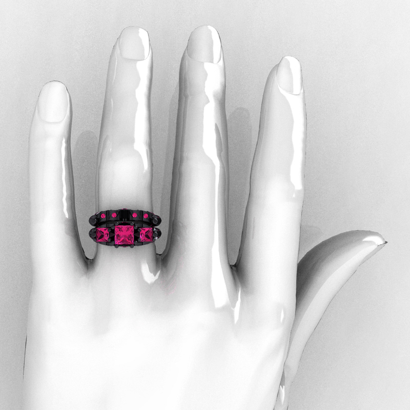Designer Classic 14k Black Gold Three Stone Princess Pink Sapphire