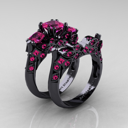 Classic-14K-Black-Gold-Three-Stone-Princess-Pink-Sapphire-Solitaire-Ring-Wedding-Band-Set-R500S-14KBGPS-P