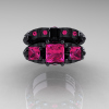 Classic-14K-Black-Gold-Three-Stone-Princess-Pink-Sapphire-Solitaire-Ring-Wedding-Band-Set-R500S-14KBGPS-T