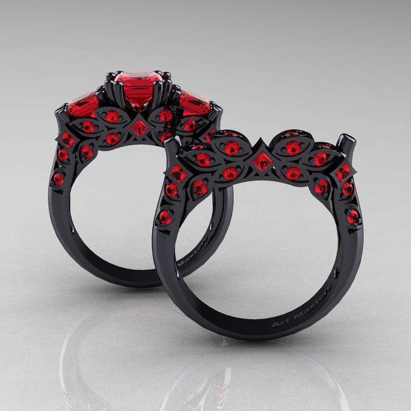 designer classic 14k black gold three princess rubies
