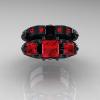 Classic-14K-Black-Gold-Three-Stone-Princess-Rubies-Solitaire-Ring-Wedding-Band-Set-R500S-BGR-T