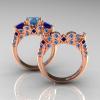 Classic-14K-Rose-Gold-Three-Stone-Princess-Blue-Topaz-Blue-Sapphire-Solitaire-Ring-Wedding-Band-Set-R500S2-14KRGBTBS-F