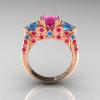 Classic-14K-Rose-Gold-Three-Stone-Princess-Pink-Sapphire-Blue-Topaz-Diamond-Ring-R500-RGBTPS-F