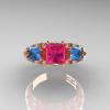 Classic-14K-Rose-Gold-Three-Stone-Princess-Pink-Sapphire-Blue-Topaz-Diamond-Ring-R500-RGBTPS-T