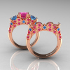 Classic-14K-Rose-Gold-Three-Stone-Princess-Pink-Sapphire-Blue-Topaz-Diamond-Ring-Wedding-Band-Set-R500S-RGBTPS-F